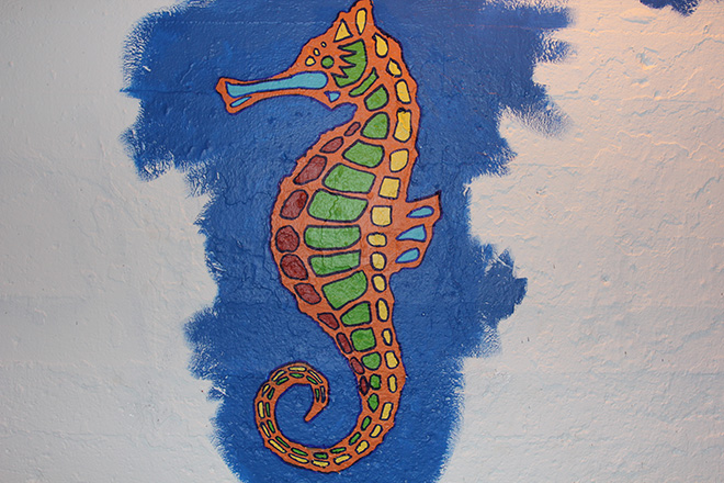 Tony Passero Coloribbean Mural in Rogers Park Chicago Day 5 Seahorse Detail