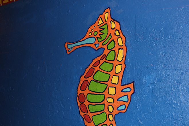 Tony Passero Coloribbean Mural in Rogers Park Chicago Day 7 Seahorse Closeup
