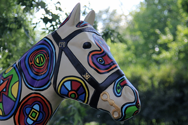 Tony Passero Horses of Honor Stained Glass Horse Head Closeup View