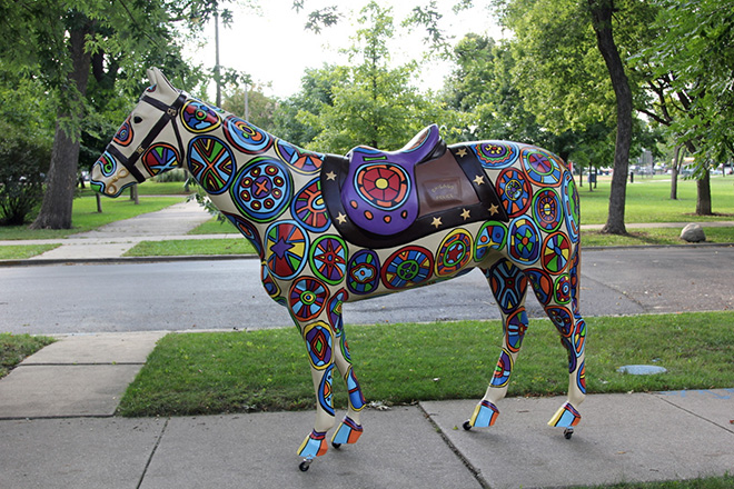 Tony Passero Horses of Honor Stained Glass Horse Left Side View