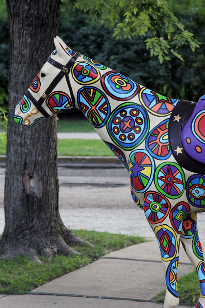 Tony Passero Horses of Honor Stained Glass Horse Neck Detail View