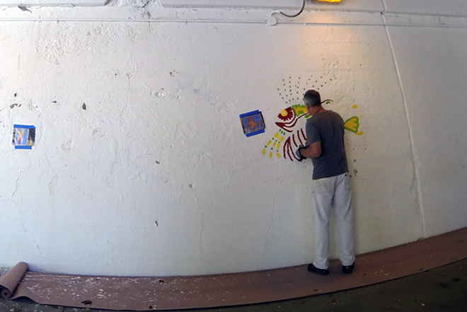 Tony Passero Coloribbean Mural in Rogers Park Chicago Day 2 Artist Tony Passero Roughing in the lionfish