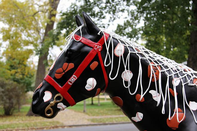 Tony Passero Horses of Honor Chicago Bulls Chicago White Sox Patch Horse Mane Detail