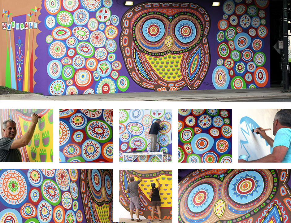 Tony Passero Whoot Mural Belmont and Kedzie Chicago Mural Detail