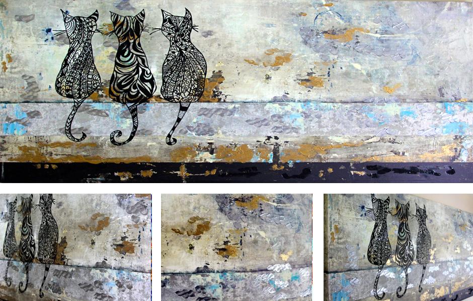 Tony Passero Painting Tres Gatos Detail