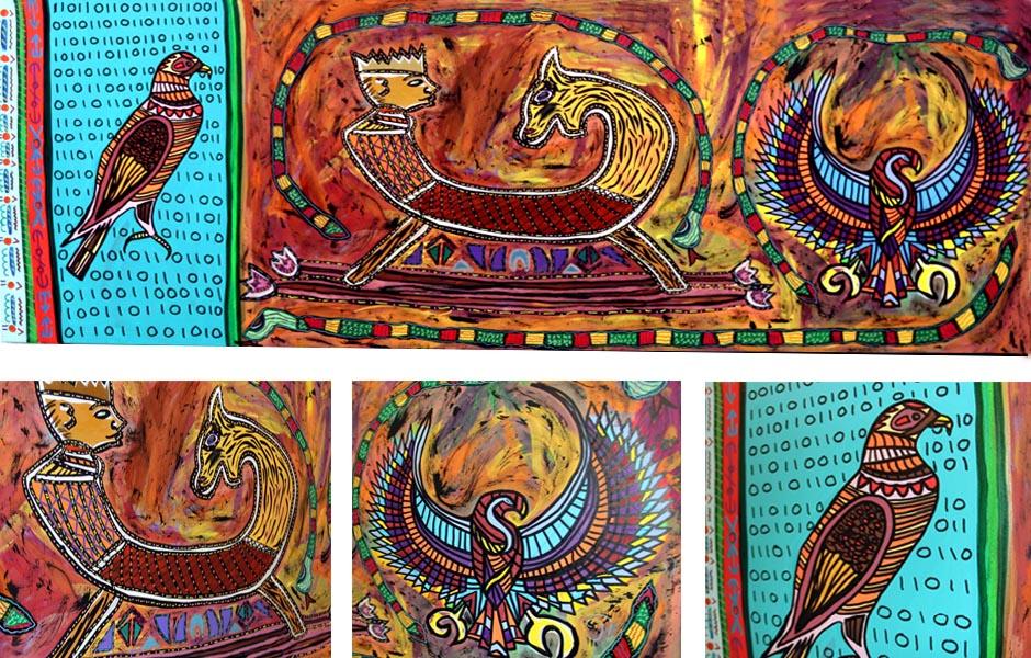 Tony Passero Painting Hawk the King Soar the Horse Detail