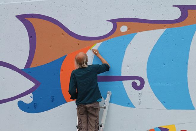 Tony Passero Jumbo Jet Mural Jerry at work