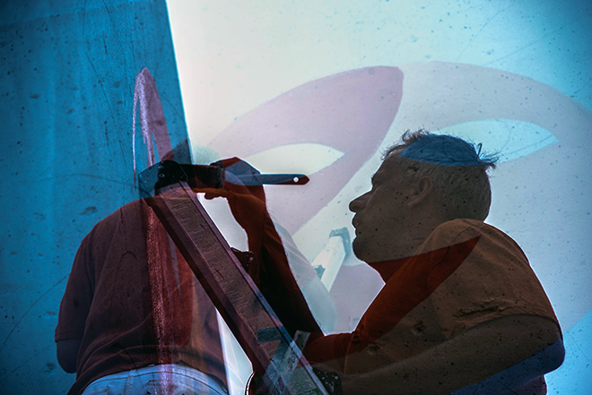 Tony Passero Jumbo Jet Mural Tony Double Exposure Painting
