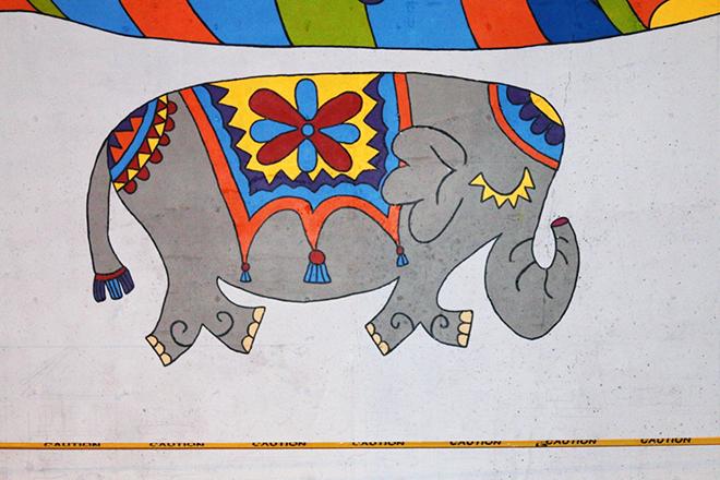 Tony Passero Jumbo Jet Mural Elephant Detail