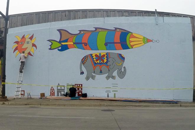 Tony Passero Jumbo Jet Mural Day 4 Building Sketching