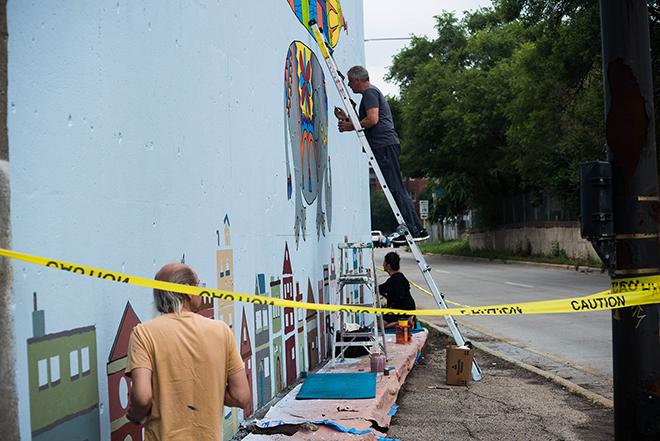 Tony Passero Jumbo Jet Mural Day 4 High and Low
