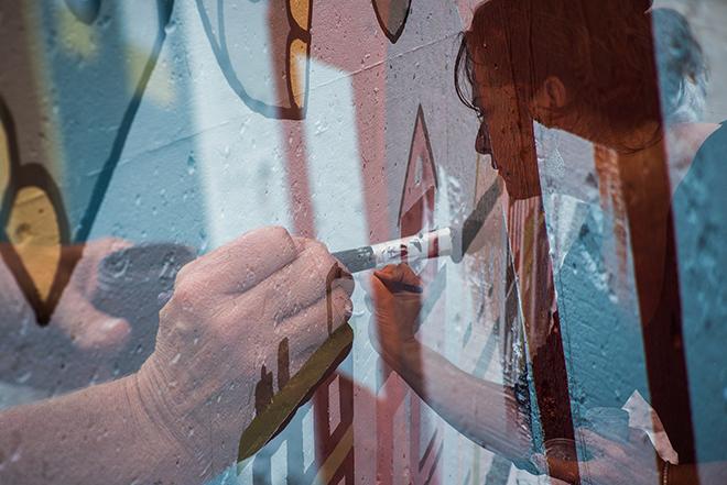 Tony Passero Jumbo Jet Mural Day 4  Shannon Double Exposure