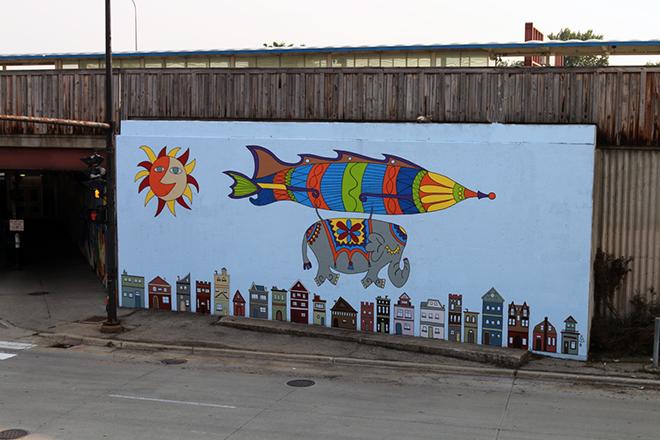 Tony Passero Jumbo Jet Mural Day 5 View from Hot Woks Cold Sushi Restaurant