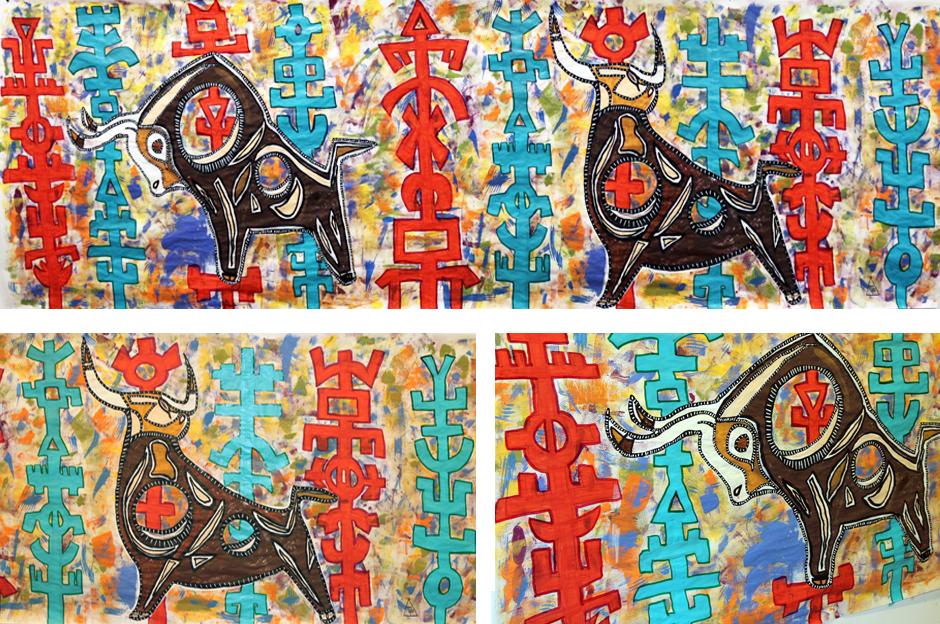 Tony Passero Painting Toro Totem Detail