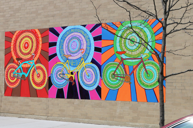 Spin Cycles Mural Install Day Angle View