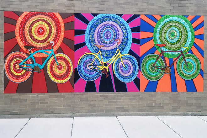 Spin Cycles Mural Install Day Street View