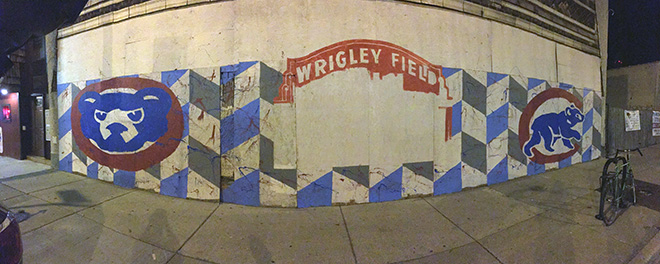 Tony Passero Chicago Cubs Mural Day 2 End of evening progress