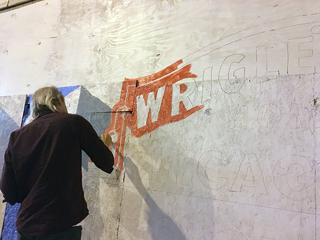 Tony Passero Chicago Cubs Mural Day 2 Jerry working on the lettering in the Wrigley Field Marquee
