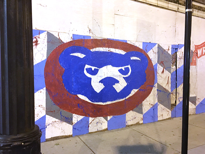 Tony Passero Chicago Cubs Mural Day 2 Color blocking on the cubby logo on the left side of the mural