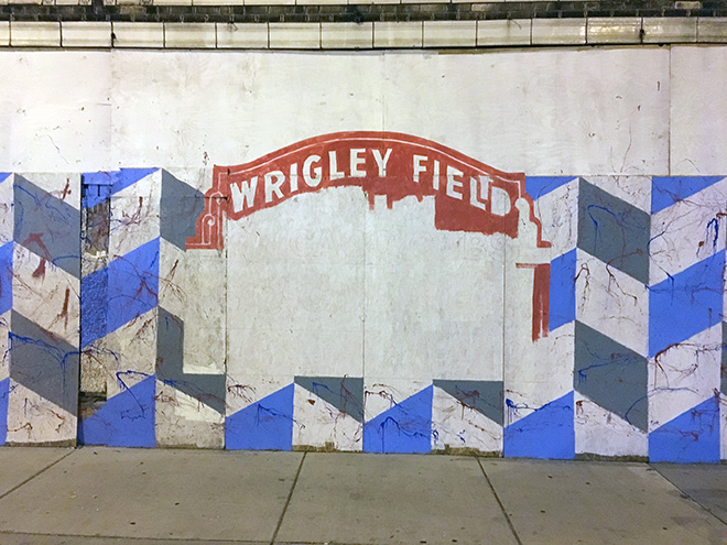 Tony Passero Chicago Cubs Mural Day 2 end of evening progress on the Wrigley Field Marquee
