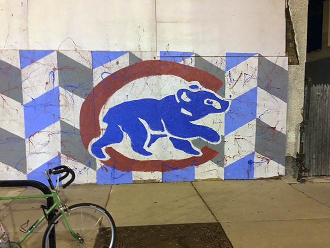 Tony Passero Chicago Cubs Mural Day 2 Color Blocking on the walking bear logo on the right side of the mural