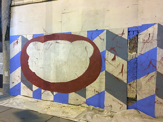 Tony Passero Chicago Cubs Mural Day 2 roughing in the red C in the cubby logo on the right side