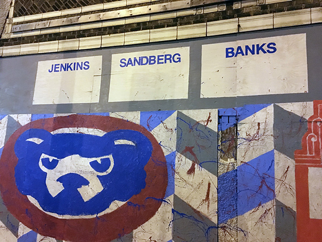 Tony Passero Chicago Cubs Mural Day 3 Final lettering for retired Cubs players Jenkins, Sandberg and Banks on the left side