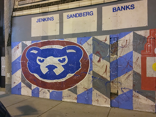 Tony Passero Chicago Cubs Mural Day 3 Outlining and stylizing of the cubby logo