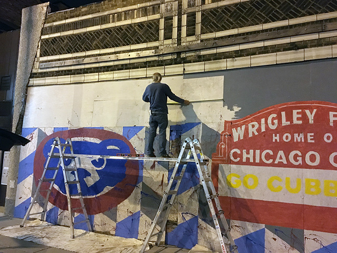 Tony Passero Chicago Cubs Mural Day 3 Measuring out the retired players numbers
