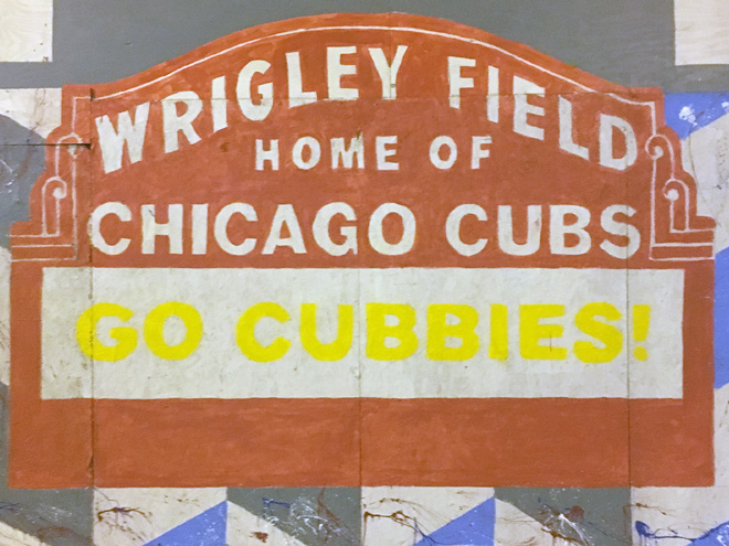 Tony Passero Chicago Cubs Mural Day 3 Wrigley Field Sign