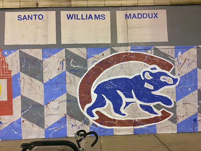 Tony Passero Chicago Cubs Mural Day 3 Outlining and stylizing of the walking bear logo