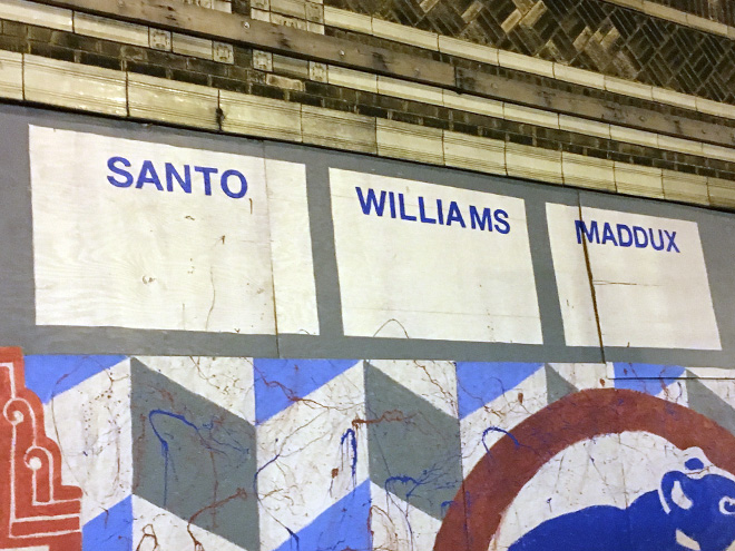 Tony Passero Chicago Cubs Mural Day 3 Final lettering for retired Cubs players Santo, Williams, Maddux on the right side