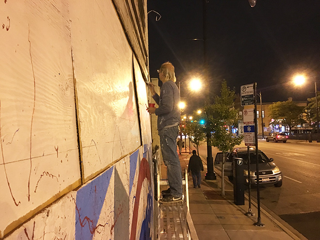 Tony Passero Chicago Cubs Mural Day 3 Painting in Billy Williams