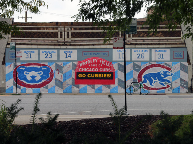 Tony Passero Chicago Cubs Mural Day 4 View from the bench across the street