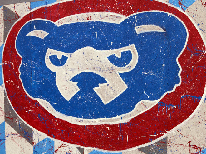 Tony Passero Chicago Cubs Mural Day 4 Closeup of the Cubby logo