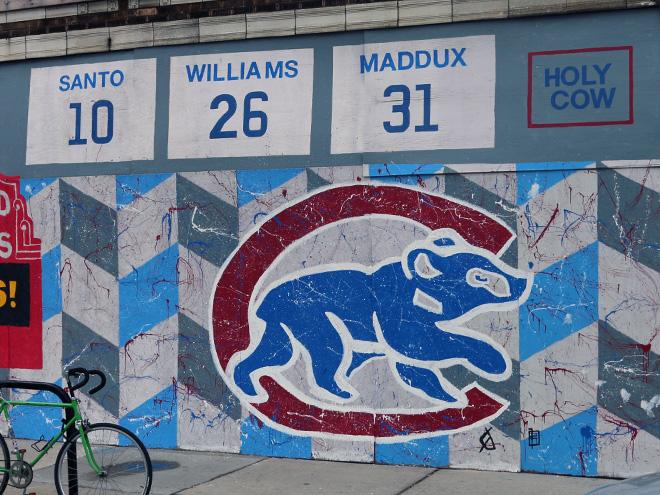 Tony Passero Chicago Cubs Mural Day 4 Sidewalk view
