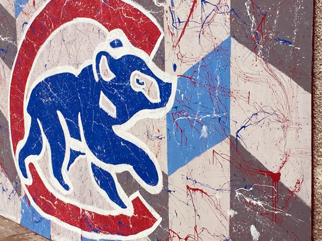 Tony Passero Chicago Cubs Mural Day 4 Closeup of the Walking Bear logo