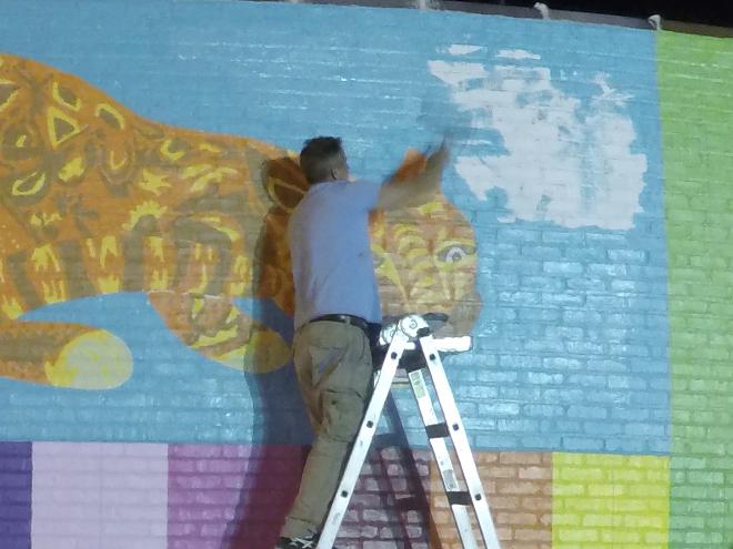 Tony Passero JagLeo Mural Day 3 Some midnight blue