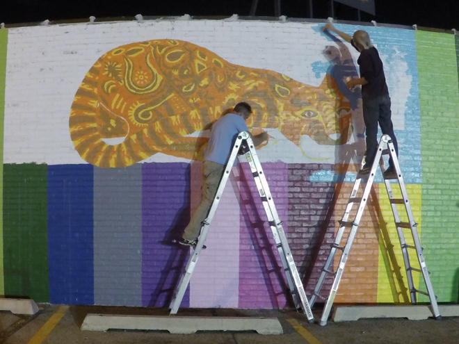 Tony Passero JagLeo Mural Day 3 Getting in the last layer of underlying color