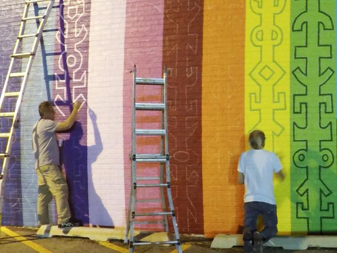 Tony Passero JagLeo Mural Day 4 late night painting