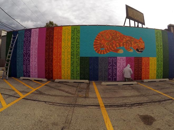 Tony Passero JagLeo Mural Day 5 Artist Tony Passero picking up on the patterns
