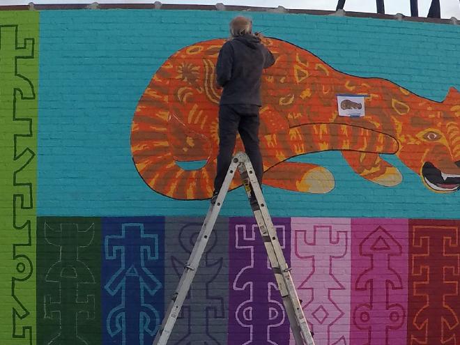 Tony Passero JagLeo Mural Day 5 Jerry outlining