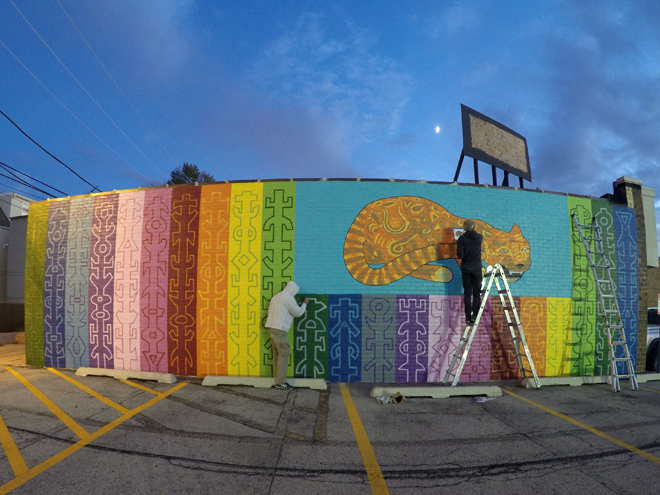 Tony Passero JagLeo Mural Day 5 Working into the night