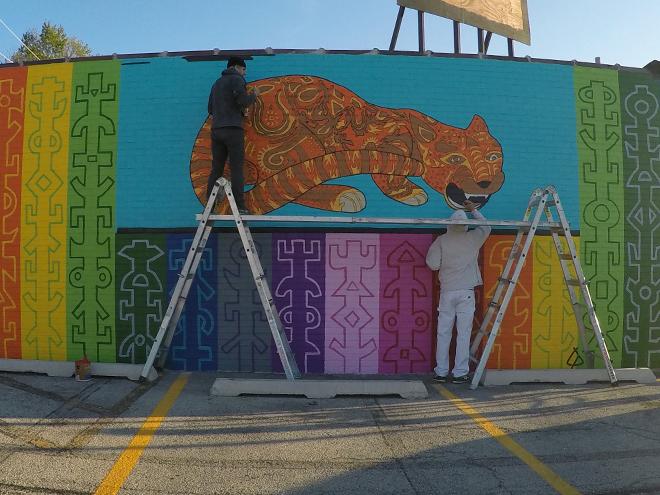 Tony Passero JagLeo Mural Day 6 Working in borders and detailing