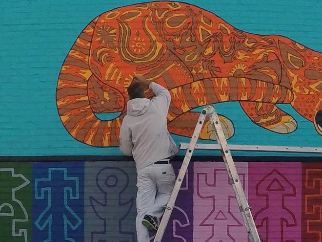 Tony Passero JagLeo Mural Day 6 Artist Tony Passero doing cleanup