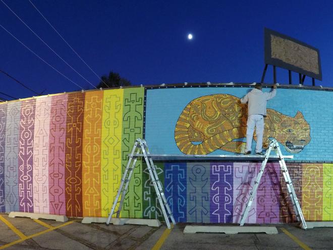 Tony Passero JagLeo Mural Day 6 Painting by moonlight