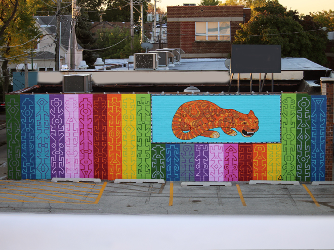Tony Passero JagLeo Mural  Parking Ramp View