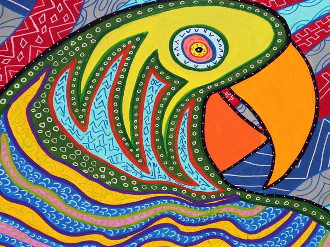 Tony Passero PAiRROTS Mural left parrot closeup