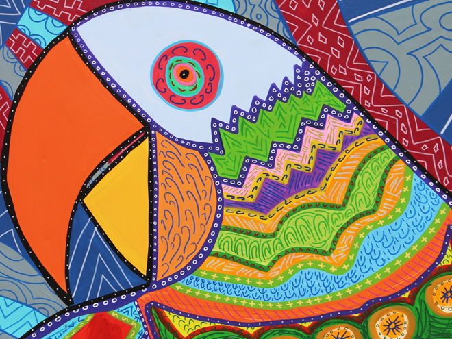 Tony Passero PAiRROTS Mural right parrot closeup