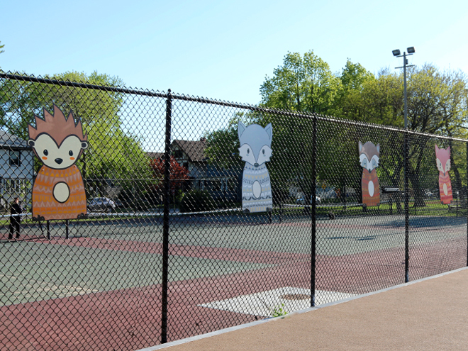 Tony Passero Independence Park Woodland Animals Mural Installation Right Angle View